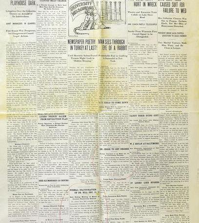 The first edition of The University Missourian, later renamed The Columbia Missourian, published September 14, 1908.