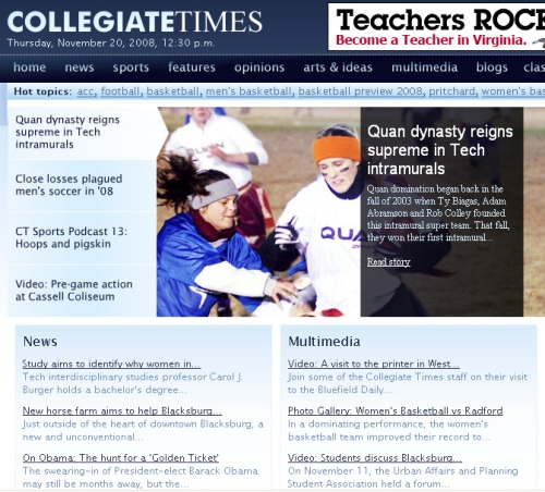 A screenshot of today's Collegiate Times at Virginia Tech.