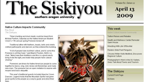 Screenshot of the current Siskiyou site