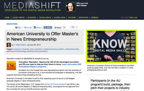 2012 Journalism Word of the Year: Entrepreneurial   College