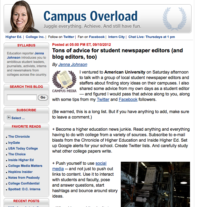 Washington Post's Jenna Johnson: 'Tons of Advice for Student