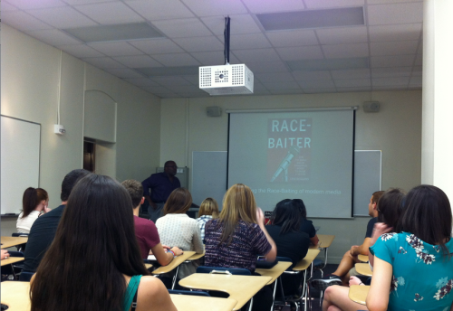 Tampa Bay Times media and TV critic Eric Deggans speaks to students at the University of Tampa about stereotypes and bias in modern media.